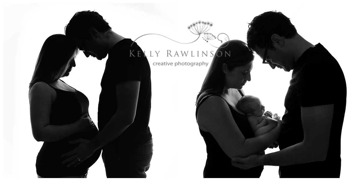 before and after, silouette family photograph, studio photography, pregnancy and baby